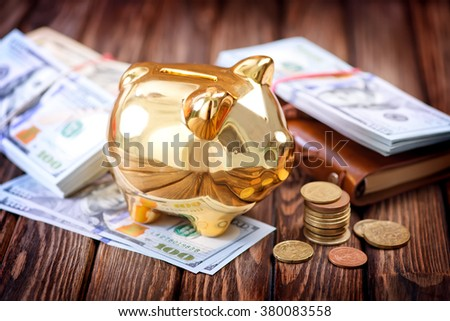 Piggy bank and money - stock photo