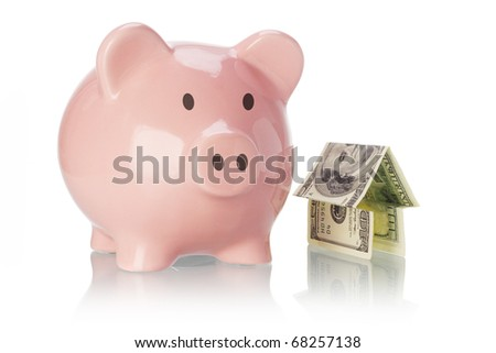 Piggy bank and money house on white background