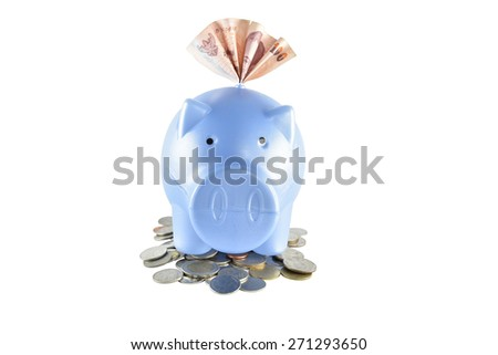 Piggy bank and money on white background with clipping paths. - stock photo