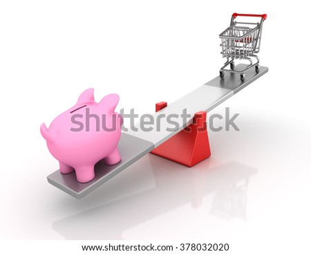 Piggy Bank and Shopping Cart Balancing on a Seesaw - Balance Concept - High Quality 3D Render    - stock photo