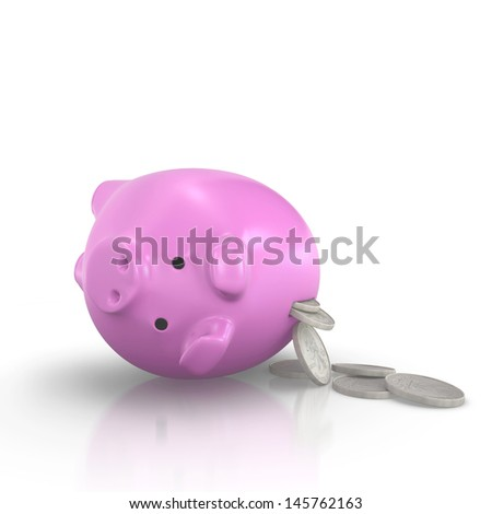 Piggy bank and Silver Coin