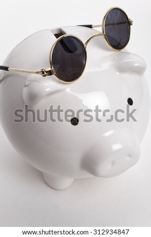 Piggy Bank and Sunglasses, concept of savings