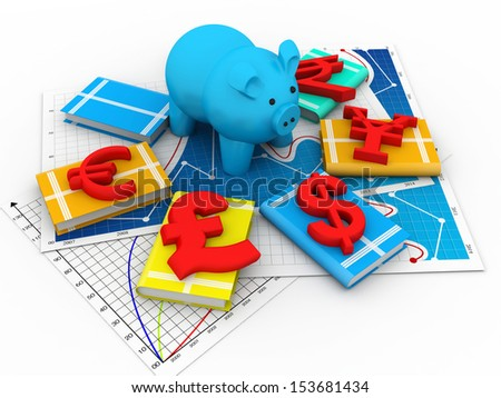 Piggy bank and symbol of currency - stock photo