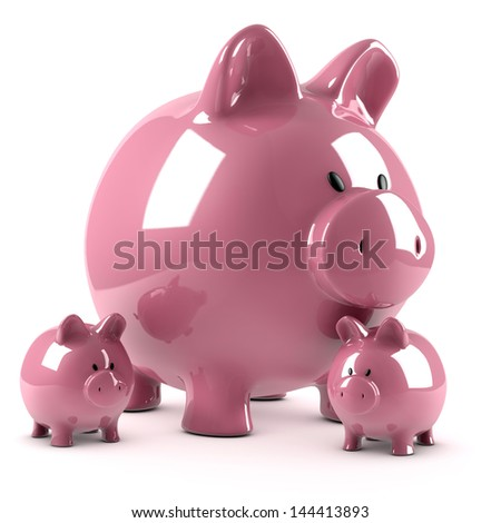 Piggy bank and two smaller ones