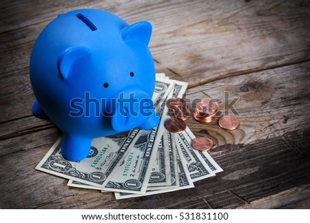 Piggy bank and us dollar notes and cents. Money