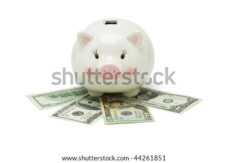 Piggy bank and US dollars on white background