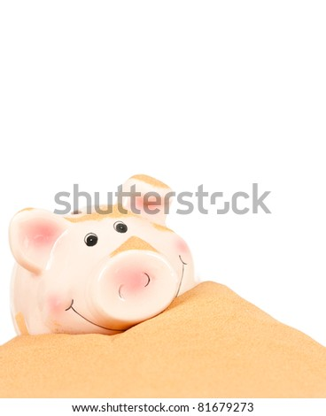 piggy bank buried isolated on white - stock photo