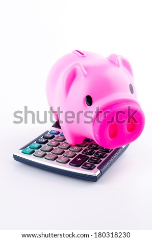 piggy bank calculator isolated white background - stock photo