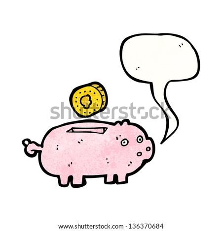 piggy bank cartoon - stock photo