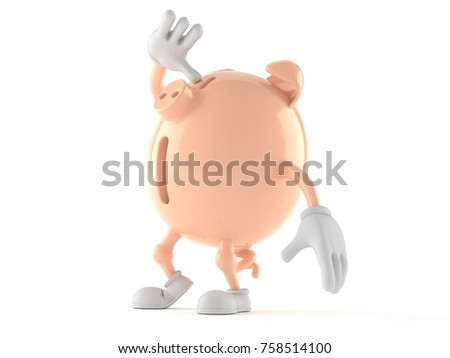 Piggy bank character looking up isolated on white background. 3d illustration