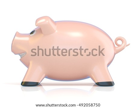 Piggy bank concept, Ceramic pig. 3D rendering illustration isolated on white background