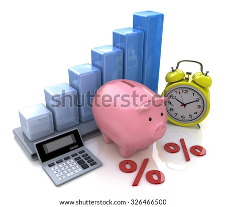 Piggy Bank Concept. The calculation of interest on deposits  - stock photo