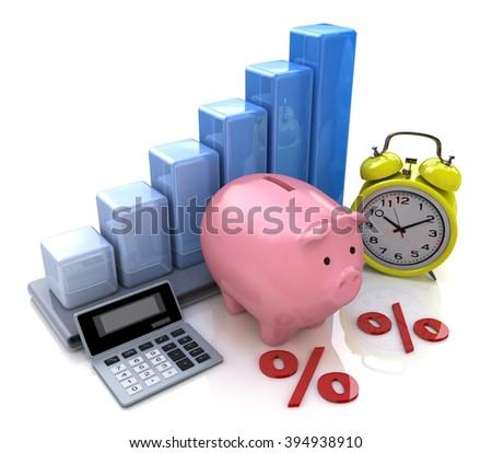 Piggy Bank Concept. The calculation of interest on deposits in the design of information related to business - stock photo
