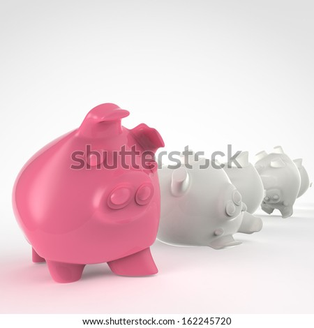 piggy bank 3d standing and another fall as concept