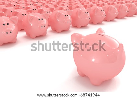 Piggy bank facing hundreds of other piggy banks - stock photo