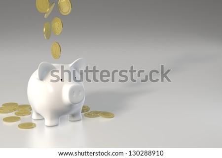 Piggy bank - falling coins - stock photo
