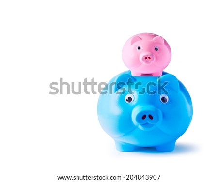 Piggy bank family on white background