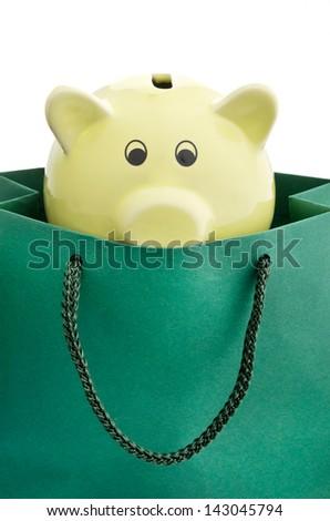 Piggy bank in a shopping bag - stock photo