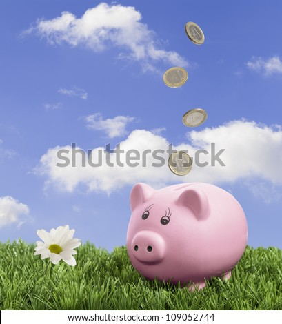 Piggy bank in the grass with falling Euro coins - stock photo