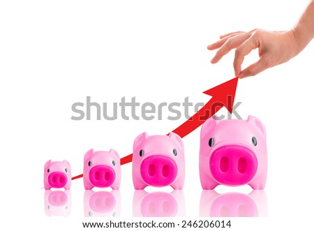 Piggy bank increasing your finance growing with white background. - stock photo