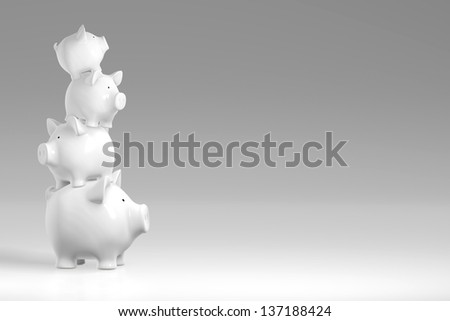 Piggy bank - irregular stack of pigs - stock photo