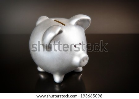Piggy bank, isolated on the dark background. - stock photo
