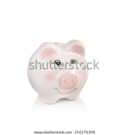 Piggy bank isolated on white background - stock photo