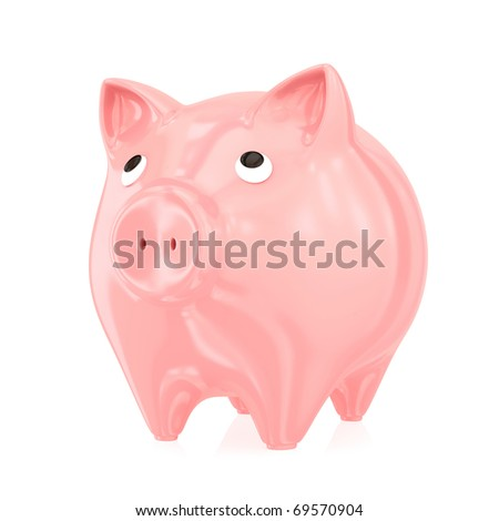 Piggy bank. Isolated on white background.3d rendered.