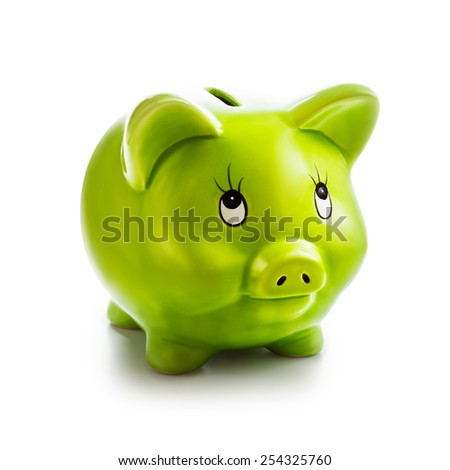 Piggy bank isolated on white background. Saving money concept. Single object with clipping path - stock photo
