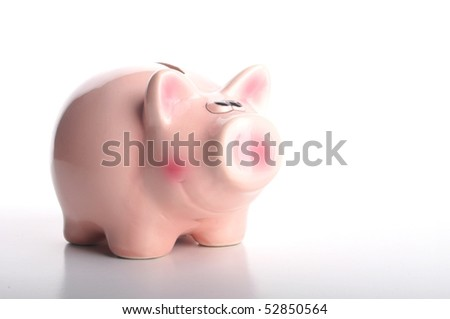 piggy bank isolated on white background with copyspace for text message