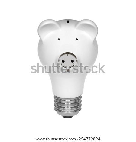 Piggy bank light bulb isolated on white background - stock photo