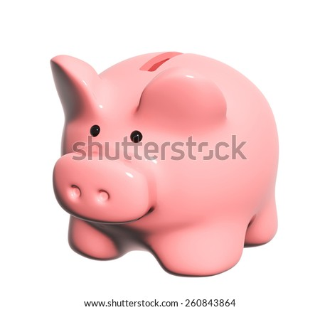 Piggy bank. Object isolated on white background - stock photo