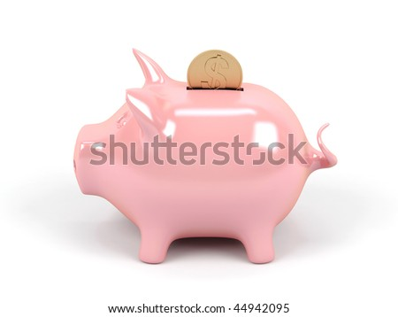 Piggy bank on a white background.