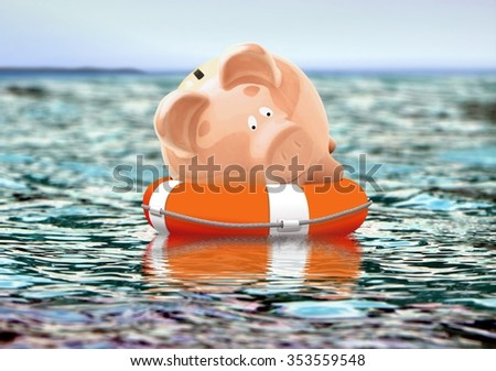 Piggy bank on buoy floating on water - stock photo