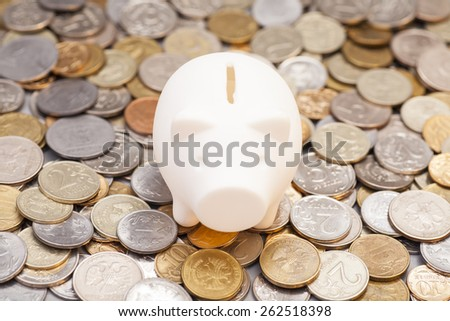 piggy bank on coins - stock photo