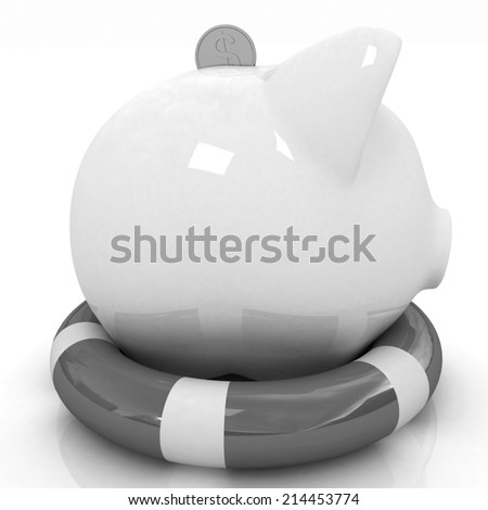piggy bank on lifebuoy on white background - stock photo