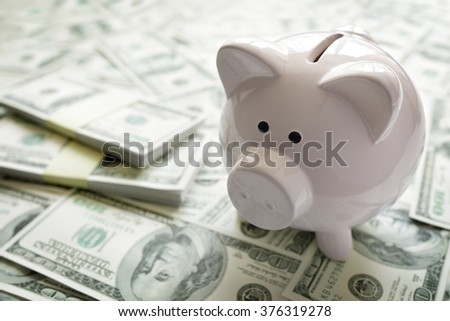 Piggy bank on money concept for business finance, investment, saving or retirement fund - stock photo
