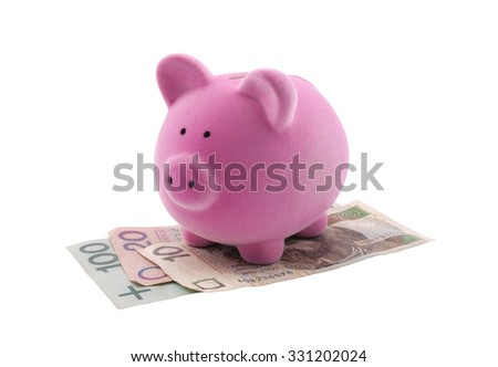 Piggy bank on polish banknotes. Clipping path included.  - stock photo