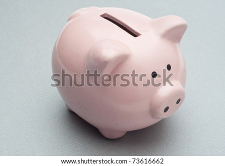 Piggy Bank on Silver Background without Money. - stock photo