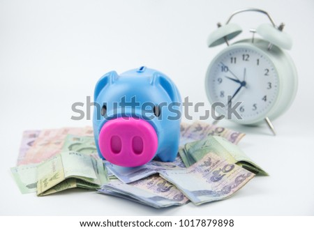 Piggy bank on soft WHITE background with THAI BATH money banknotes.