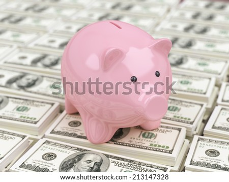 Piggy bank on stacks of dollar banknotes - stock photo