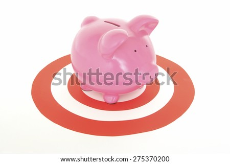 Piggy Bank on target on White Background - stock photo