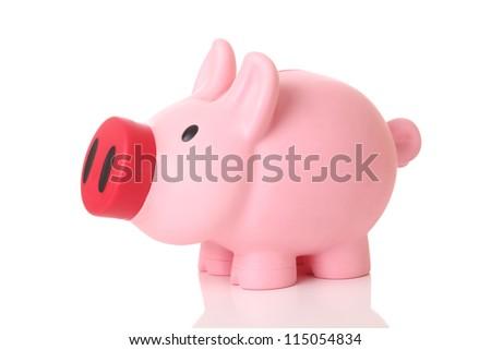 Piggy bank on white background - stock photo