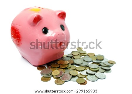 piggy bank on white background.