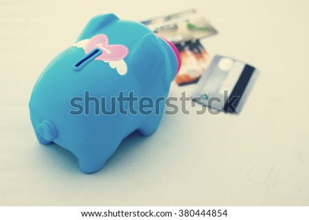 Piggy bank on white background, abstract time to start to saving or solution for keep money - stock photo