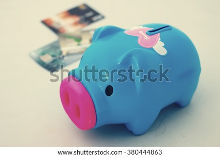 Piggy bank on white background, abstract time to start to saving or solution for keep money