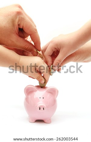 Piggy Bank on White Background - everyone contributing - stock photo