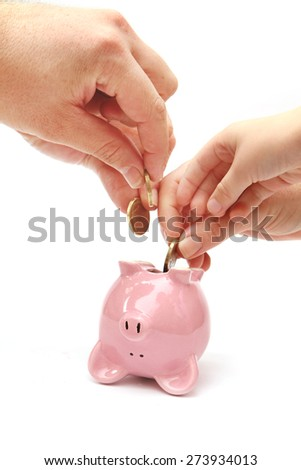 Piggy Bank on White Background with lots of hands withdrawing money