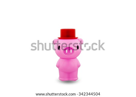 Piggy bank on white,with clipping path - stock photo