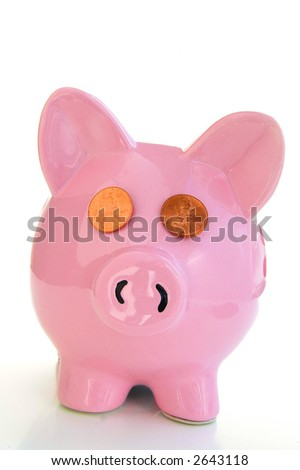 Piggy bank on white with penny eyes - stock photo